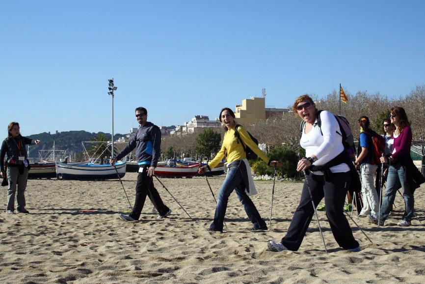 nordic-walking-barcelona-coast-walking-on-the-beach